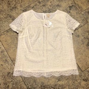 J.CREW FACTORY WHITE LACE T-SHIRT TOP